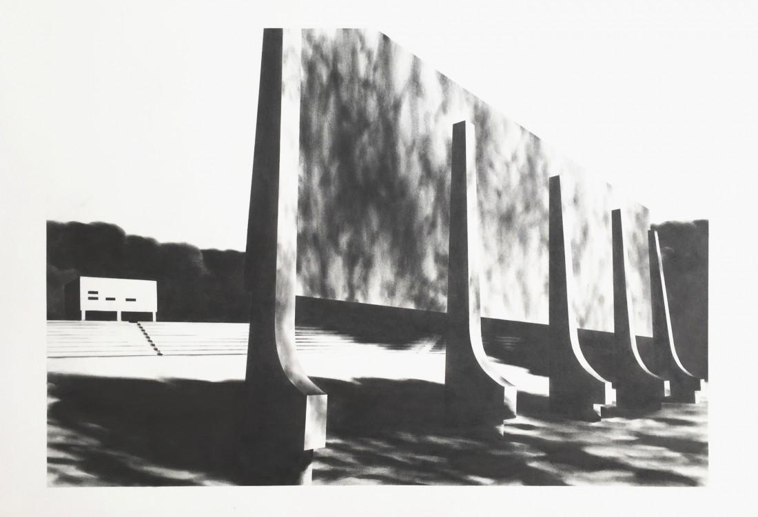 Arena 70 x 100 cm Graphit auf Bütten 2015