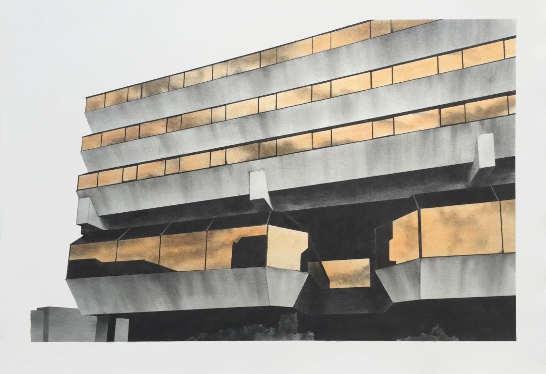 Botschaft 46 x 70 cm Graphit, Pigment auf Bütten 2015 Sammlung Kunsthalle Rostock