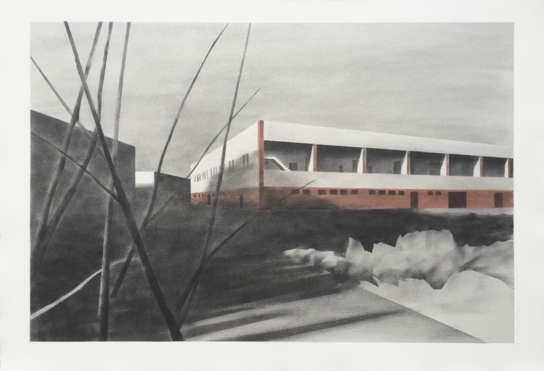 Lagerhalle 46 x 70 cm Graphit, Pigment auf Bütten 2015