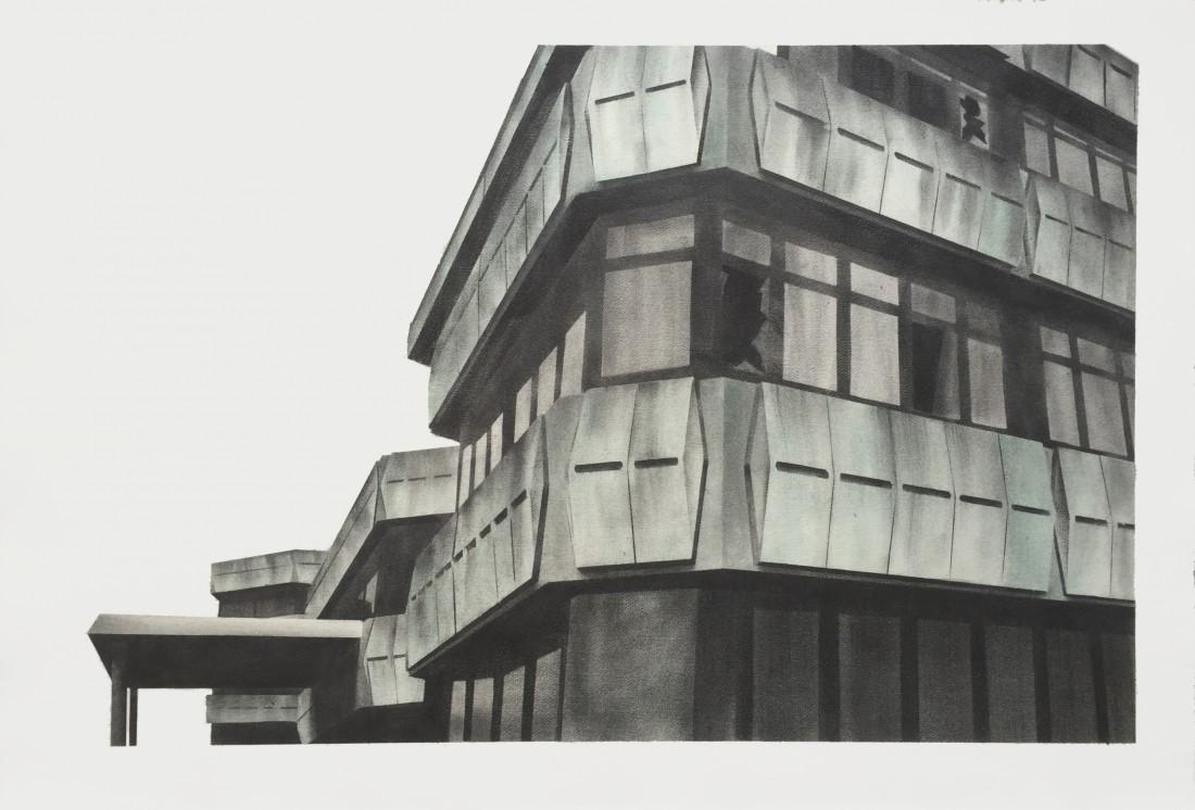 Sporthotel 46 x 70 cm Graphit, Pigment auf Bütten 2015 Sammlung Kunsthalle Rostock